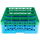Carlisle RG16-2C413 OptiClean 16 Compartment Green Color-Coded Glass Rack with 2 Extenders