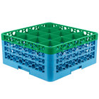 Carlisle RG16-3C413 OptiClean 16 Compartment Green Color-Coded Glass Rack with 3 Extenders