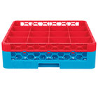 Carlisle RG16-1C410 OptiClean 16 Compartment Red Color-Coded Glass Rack with 1 Extender