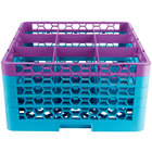 Carlisle RG9-4C414 OptiClean 9 Compartment Lavender Color-Coded Glass Rack with 4 Extenders