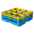 Carlisle RG9-2C411 OptiClean 9 Compartment Yellow Color-Coded Glass Rack with 2 Extenders