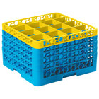Carlisle RG16-5C411 OptiClean 16 Compartment Yellow Color-Coded Glass Rack with 5 Extenders