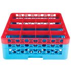 Carlisle RG16-2C410 OptiClean 16 Compartment Red Color-Coded Glass Rack with 2 Extenders