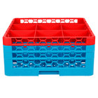 Carlisle RG9-3C410 OptiClean 9 Compartment Red Color-Coded Glass Rack with 3 Extenders