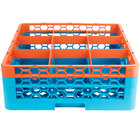 Carlisle RG9-2C412 OptiClean 9 Compartment Orange Color-Coded Glass Rack with 2 Extenders