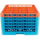 Carlisle RG16-5C412 OptiClean 16 Compartment Orange Color-Coded Glass Rack with 5 Extenders