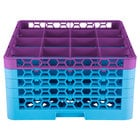 Carlisle RG16-4C414 OptiClean 16 Compartment Lavender Color-Coded Glass Rack with 4 Extenders