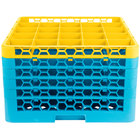 Carlisle RG25-5C411 OptiClean 25 Compartment Yellow Color-Coded Glass Rack with 5 Extenders
