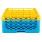 Carlisle RG25-3C411 OptiClean 25 Compartment Yellow Color-Coded Glass Rack with 3 Extenders