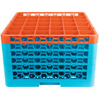 Carlisle RG36-5C412 OptiClean 36 Compartment Orange Color-Coded Glass Rack with 5 Extenders