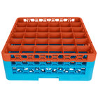 Carlisle RG36-2C412 OptiClean 36 Compartment Orange Color-Coded Glass Rack with 2 Extenders