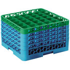 Carlisle RG36-5C413 OptiClean 36 Compartment Green Color-Coded Glass Rack with 5 Extenders
