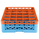 Carlisle RG25-2C412 OptiClean 25 Compartment Orange Color-Coded Glass Rack with 2 Extenders