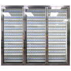 Styleline CL3072-2020 20//20 Plus 30 inch x 72 inch Walk-In Cooler Merchandiser Doors with Shelving - Anodized Bright Silver, Right Hinge - 3/Set
