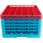 Carlisle RG36-5C410 OptiClean 36 Compartment Red Color-Coded Glass Rack with 5 Extenders