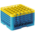 Carlisle RG36-5C411 OptiClean 36 Compartment Yellow Color-Coded Glass Rack with 5 Extenders