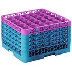 Carlisle RG36-5C414 OptiClean 36 Compartment Lavender Color-Coded Glass Rack with 5 Extenders