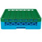 Carlisle RG36-1C413 OptiClean 36 Compartment Green Color-Coded Glass Rack with 1 Extender