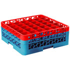 Carlisle RG36-2C410 OptiClean 36 Compartment Red Color-Coded Glass Rack with 2 Extenders