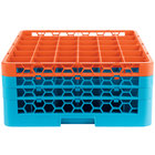 Carlisle RG36-3C412 OptiClean 36 Compartment Orange Color-Coded Glass Rack with 3 Extenders