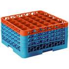 Carlisle RG36-4C412 OptiClean 36 Compartment Orange Color-Coded Glass Rack with 4 Extenders