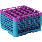 Carlisle RG25-5C414 OptiClean 25 Compartment Lavender Color-Coded Glass Rack with 5 Extenders