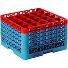 Carlisle RG25-5C410 OptiClean 25 Compartment Red Color-Coded Glass Rack with 5 Extenders
