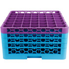 Carlisle RG49-4C414 OptiClean 49 Compartment Lavender Color-Coded Glass Rack with 4 Extenders