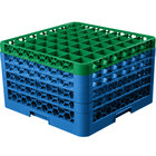Carlisle RG49-5C413 OptiClean 49 Compartment Green Color-Coded Glass Rack with 5 Extenders