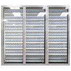 Styleline CL2472-LT Classic Plus 24 inch x 72 inch Walk-In Freezer Merchandiser Doors with Shelving - Anodized Satin Silver, Left Hinge - 3/Set
