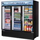Turbo Air TGM-72RSB 78 inch Three Section Glass Door Black Merchandising Refrigerator - 72 Cu. Ft.