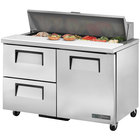 True TSSU-48-12D-2-ADA-HC 48 inch 1 Door 2 Drawer ADA Height Refrigerated Sandwich Prep Table