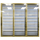 Styleline CL3072-LT Classic Plus 30 inch x 72 inch Walk-In Freezer Merchandiser Doors with Shelving - Anodized Bright Gold, Left Hinge - 3/Set