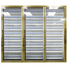Styleline CL3072-LT Classic Plus 30 inch x 72 inch Walk-In Freezer Merchandiser Doors with Shelving - Anodized Bright Gold, Right Hinge - 3/Set