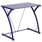 """Flash Furniture NAN-WK-SD-02-BLUE-GG Blue Tempered Glass Computer Desk with Steel Frame - 32"""" x 20"""" x 29"""""""