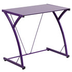 """Flash Furniture NAN-WK-SD-02-PUR-GG Purple Tempered Glass Computer Desk with Steel Frame - 32"""" x 20"""" x 29"""""""