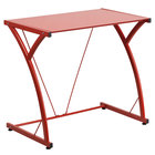 """Flash Furniture NAN-WK-SD-02-RED-GG Red Tempered Glass Computer Desk with Steel Frame - 32"""" x 20"""" x 29"""""""