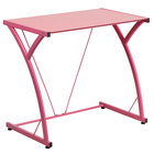"""Flash Furniture NAN-WK-SD-02-PINK-GG Pink Tempered Glass Computer Desk with Steel Frame - 32"""" x 20"""" x 29"""""""