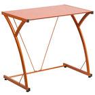 "Flash Furniture NAN-WK-SD-02-OR-GG Orange Tempered Glass Computer Desk with Steel Frame - 32"" x 20"" x 29"""