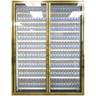 Styleline CL3080-LT Classic Plus 30 inch x 80 inch Walk-In Freezer Merchandiser Doors with Shelving - Anodized Bright Gold, Left Hinge - 2/Set