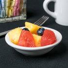 Acopa 3.5 oz. Bright White Rolled Edge Stoneware Fruit Bowl / Monkey Dish - 36/Case