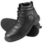 Genuine Grip 7130 Men's Size 10 Wide Width Black Steel Toe Non Slip Leather Boot with Zipper Lock