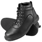 Genuine Grip 7130 Men's Size 7 Wide Width Black Steel Toe Non Slip Leather Boot with Zipper Lock