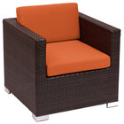 BFM Seating PH5102JV-54010 Aruba Java Wicker Outdoor / Indoor Armchair with Rust Canvas Cushions