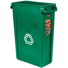 Rubbermaid FG354007GRN Slim Jim 23 Gallon Green Recycling Bin
