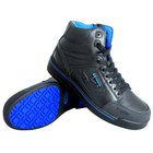 Genuine Grip 5010 Stealth Men's Size 13 Medium Width Black and Blue Laced Non Slip Shoe with Composite Toe and Side Zipper
