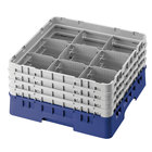 Cambro 9S1114168 Blue Camrack Customizable 9 Compartment 11 3/4 inch Glass Rack