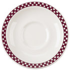 Homer Laughlin 2831791 Maroon Checkers 5 1/2 inch Ivory (American White) Texas Saucer - 36/Case