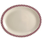 Homer Laughlin 1571791 Maroon Checkers 13 3/8 inch x 9 inch Ivory (American White) Rolled Edge Oval Platter - 12/Case