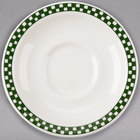 Homer Laughlin 2831708 Green Checkers 5 1/2 inch Ivory (American White) Texas Saucer - 36/Case